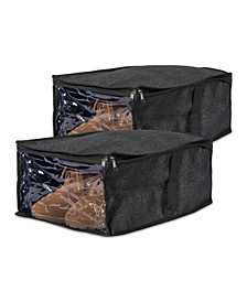 Linen Under-The-Bed Shoes Soft Storage Set of 2