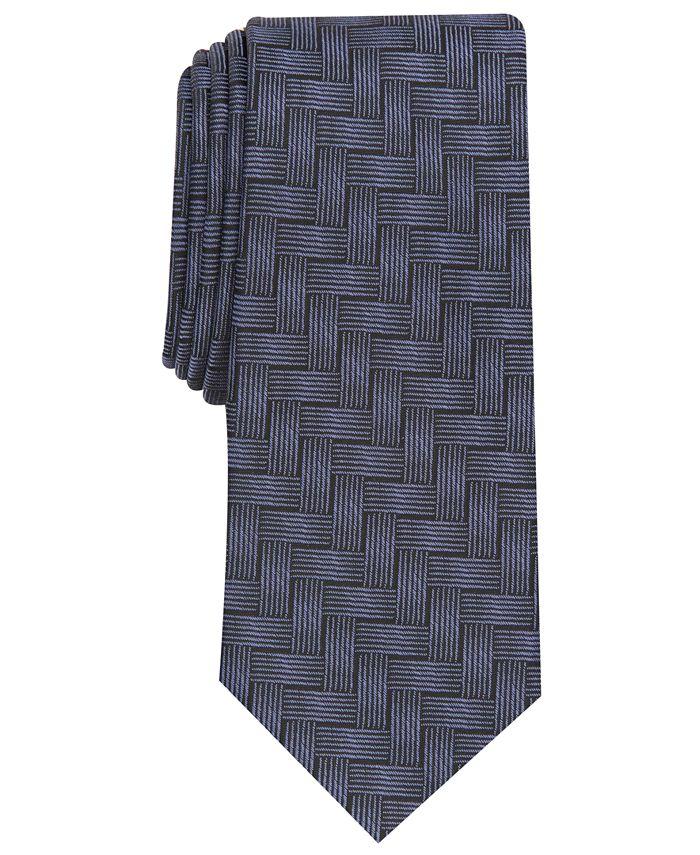 Alfani - Men's Abstract Crosshatch Slim Tie