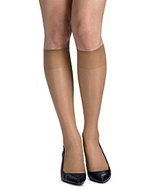 Women's 6-Pk. Slik Reflections Reinforced-Toe Knee Highs