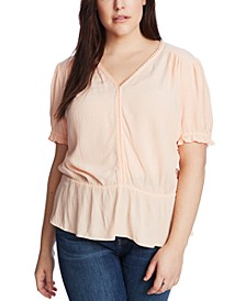 Trendy Plus Size V-Neck Peplum Top