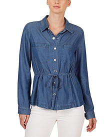 Drawstring-Waist Chambray Shirt