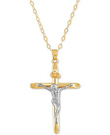 Crucifix Two-Tone Pendant in 14k Gold