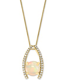 "Opal (1-1/5 ct. t.w.) & Diamond (1/6 ct. t.w.) 18"" Pendant Necklace in 14k Gold"