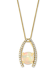 "LALI Jewels Opal (1-1/5 ct. t.w.) & Diamond (1/6 ct. t.w.) 18"" Pendant Necklace in 14k Gold"