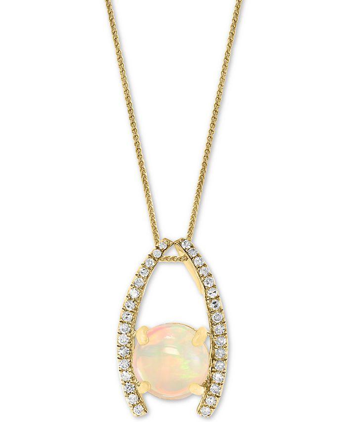 "LALI Jewels - Jewels Opal (1-1/5 ct. t.w.) & Diamond (1/6 ct. t.w.) 18"" Pendant Necklace in 14k Gold"
