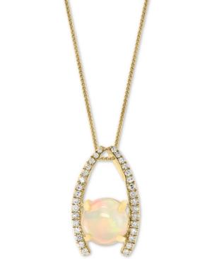 "Opal (1-1/5 ct. t.w.) & Diamond (1/6 ct. t.w.) 18"" Pendant Necklace in 14k Gold"
