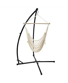 Hanging Cotton Rope Hammock Chair Swing and X-Stand Set