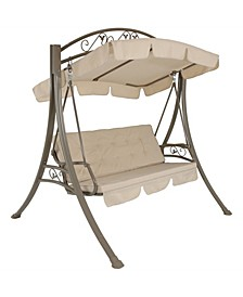 Deluxe 3-Person Outdoor Patio Porch Swing with Canopy