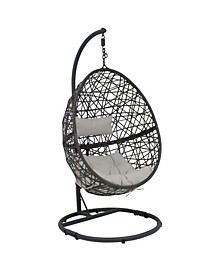 Caroline Hanging Egg Chair Swing with Steel Stand Set