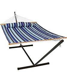 2 Person Spreader Bar Quilted Fabric Bed Double Hammock with Steel Stand