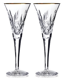 Waterford Gifts, Lismore Gold Toasting Flutes, Set Of 2
