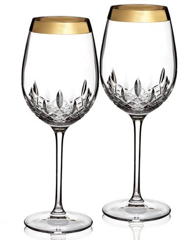 Waterford Stemware Lismore Essence Wide Gold Goblets Set