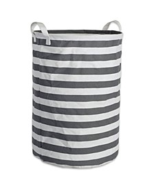 Polyethylene Coated Cotton Polyester Laundry Hamper Stripe Round