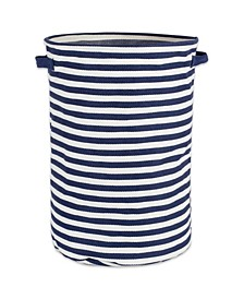 Polyethylene Coated Herringbone Woven Cotton Laundry Hamper Stripe French Round