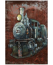 "Train Mixed Media Iron Hand Painted Dimensional Wall Art, 48"" x 32"" x 3.5"""