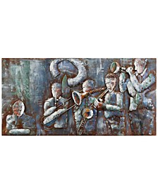 "Jazz Band Mixed Media Iron Hand Painted Dimensional Wall Art, 28"" x 56"" x 2.4"""