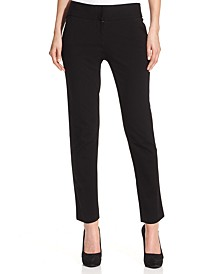 Straight-Leg Ponte Ankle Pants