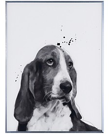 """Basset Hound Pet Paintings on Reverse Printed Glass Encased with a Gunmetal Anodized Frame Wall Art, 24"""" x 18"""" x 1"""""""