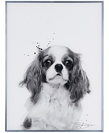 """King Charles Spaniel Pet Paintings on Reverse Printed Glass Encased with a Gunmetal Anodized Frame Wall Art, 24"""" x 18"""" x 1"""""""