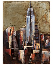 """The Empire State Building Mixed Media Iron Hand Painted Dimensional Wall Art, 40"""" x 30"""" x 2.8"""""""