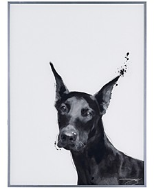 """Doberman Pet Paintings on Reverse Printed Glass Encased with a Gunmetal Anodized Frame Wall Art, 24"""" x 18"""" x 1"""""""