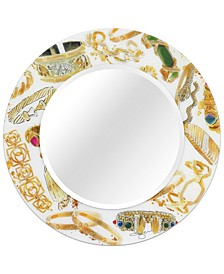 """Gold Charm Round Beveled Wall Mirror on Free Floating Reverse Printed Tempered Art Glass, 36"""" x 36"""" x 0.4"""""""