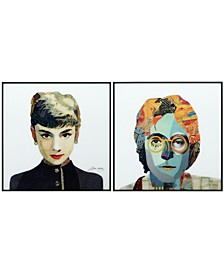 """Audrey Homage to John Reverse Printed Art Glass Collection and Anodized Aluminum Frame Glass Wall Art, 24"""" x 24"""" x 1"""""""