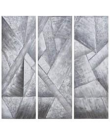 "Diamonds Textured Metallic Hand Painted Wall Art Set by Martin Edwards, 60"" x 20"" x 1.5"""