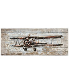 "Model airplane Metallic Handed Painted Rugged Wooden Wall Art, 24"" x 60"" x 2.6"""