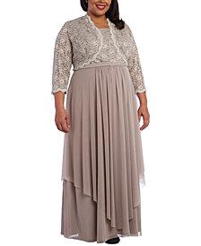 R & M Richards Plus Size Embellished Gown & Lace Jacket