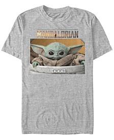 Men's Star Wars The Mandalorian The Child Big Eyes Portrait Logo Short Sleeve T-shirt