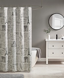 "Marseille Paris Printed Shower Curtain, 72"" W x 72"" L"