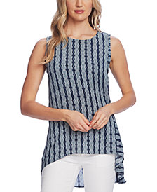 Vince Camuto Women's Sleeveless Printed Side Tie High Low Hem Blouse