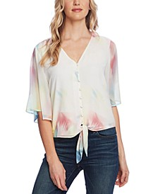 Women's Bell Sleeve Tie Front Printed Blouse