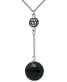 """Onyx & Cubic Zirconia 18"""" Lariat Necklace in Sterling Silver, Created for Macy's"""