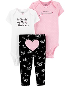 Baby Girls 3-Pc. Cotton Bodysuits & Heart Pants Set