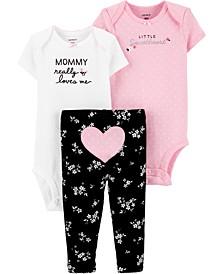 Baby Girls 3-Pc. Cotton Bodysuits & Heart Pants Set