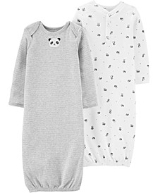 Baby Boys & Girls 2-Pk. Cotton Panda Sleeper Gowns