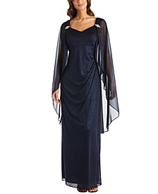 Shimmer Capelet Gown