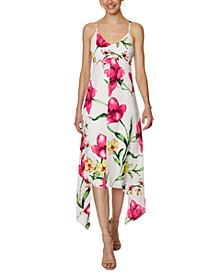 Floral-Print Handkerchief-Hem Midi Dress