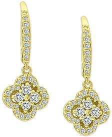 Cubic Zirconia Pavé Flower Drop Earrings in Sterling Silver, Created for Macy's