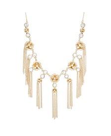 Women's Gold-Tone Rhinestone Flower Design Fringe Necklace