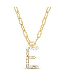 "Women's Gold-Tone Rhinestone ""E"" Initial Necklace"