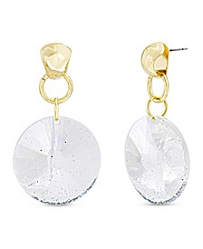 Women's Gold-Tone Glitter Circle Link Drop Earrings