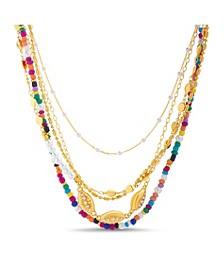 Silvertone Rainbow Beads and Rhinestone Layered Necklace