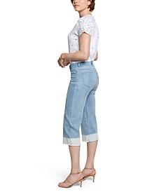 Tummy-Control Wide-Leg Capri Jeans