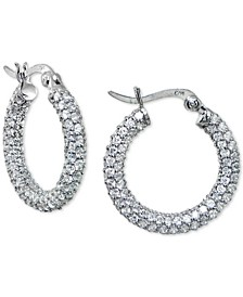 Cubic Zirconia Pavé Small Hoop Earrings in Sterling Silver, Created for Macy's