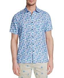 Men's Slim-Fit Plumeria Short Sleeve Shirt