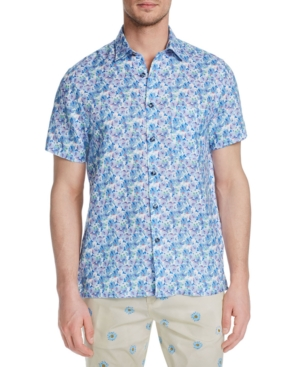 Men's Slim-Fit Plumeria Short Sleeve Shirt