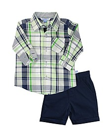 Toddler Boys Button Down Shirt and Chino Short Set